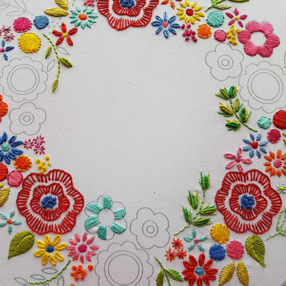 Printed Embroidery Pattern Floral Wreath - product images  of