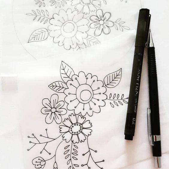 Printed Embroidery Pattern Flower Posy - product images  of