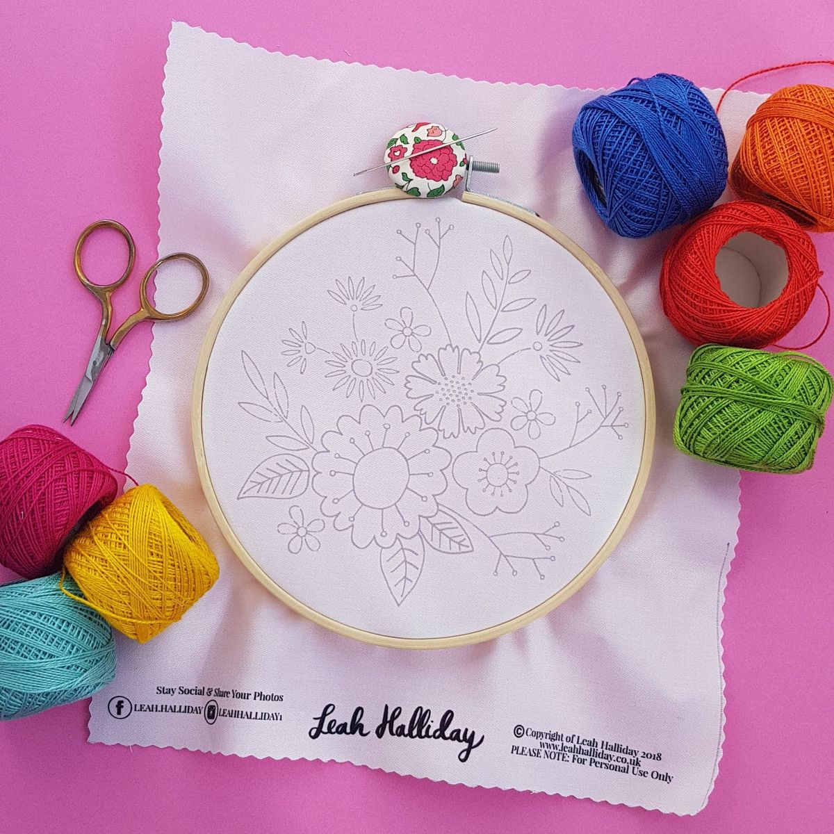 Printed Embroidery Pattern Flower Posy - product image