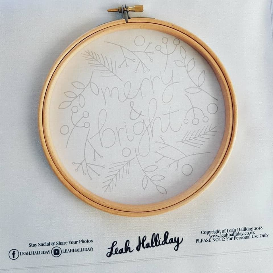Printed Embroidery Pattern Merry & Bright - product images  of