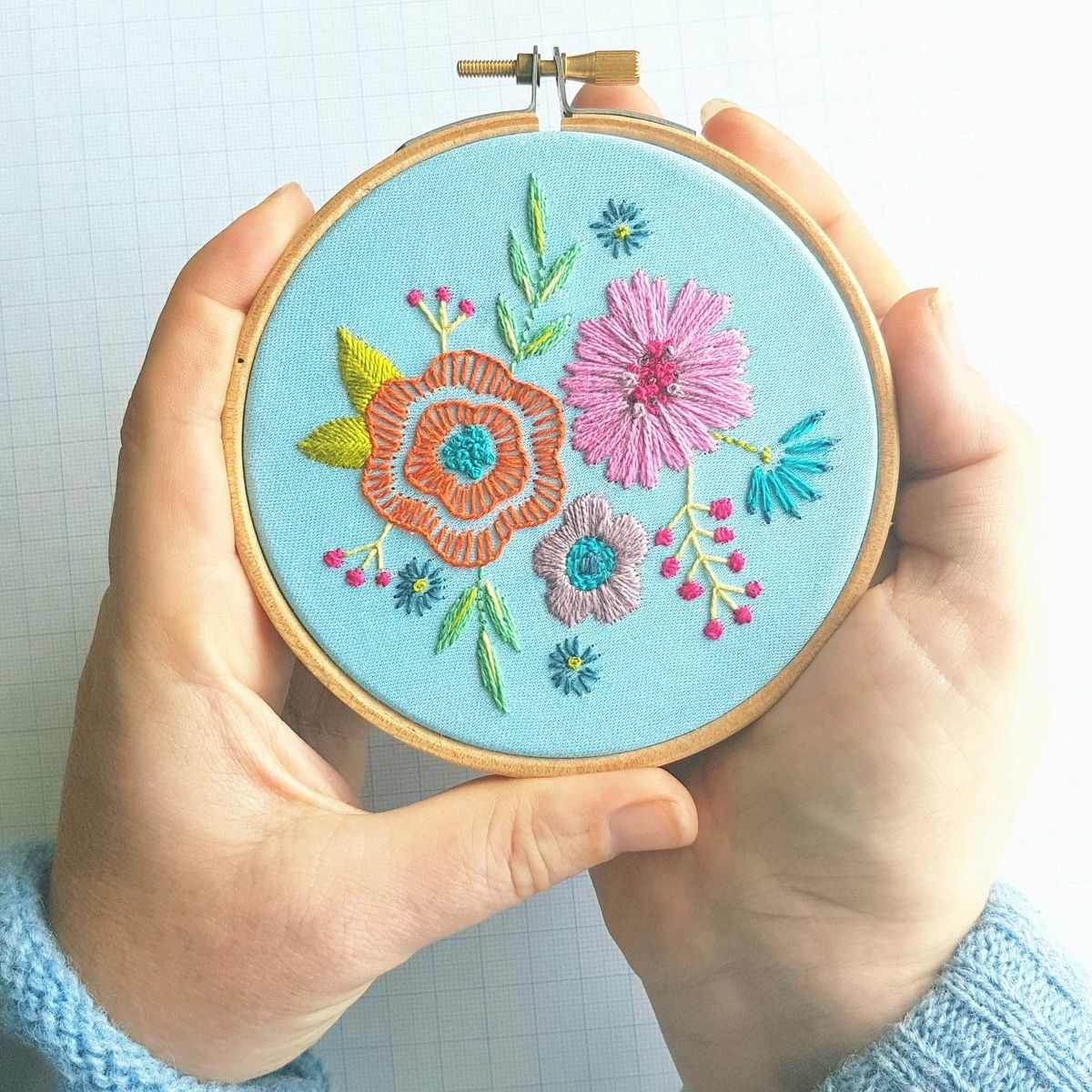 Printed Embroidery Pattern Small Floral Posy Blue - product image