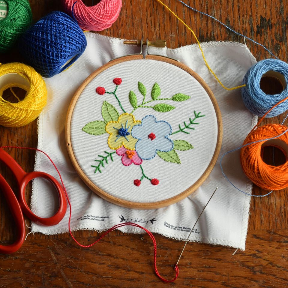 Printed Embroidery Pattern Flowers - product image