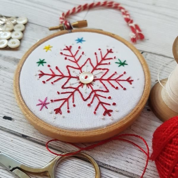 Printed Embroidery Pattern Snowflake - product image
