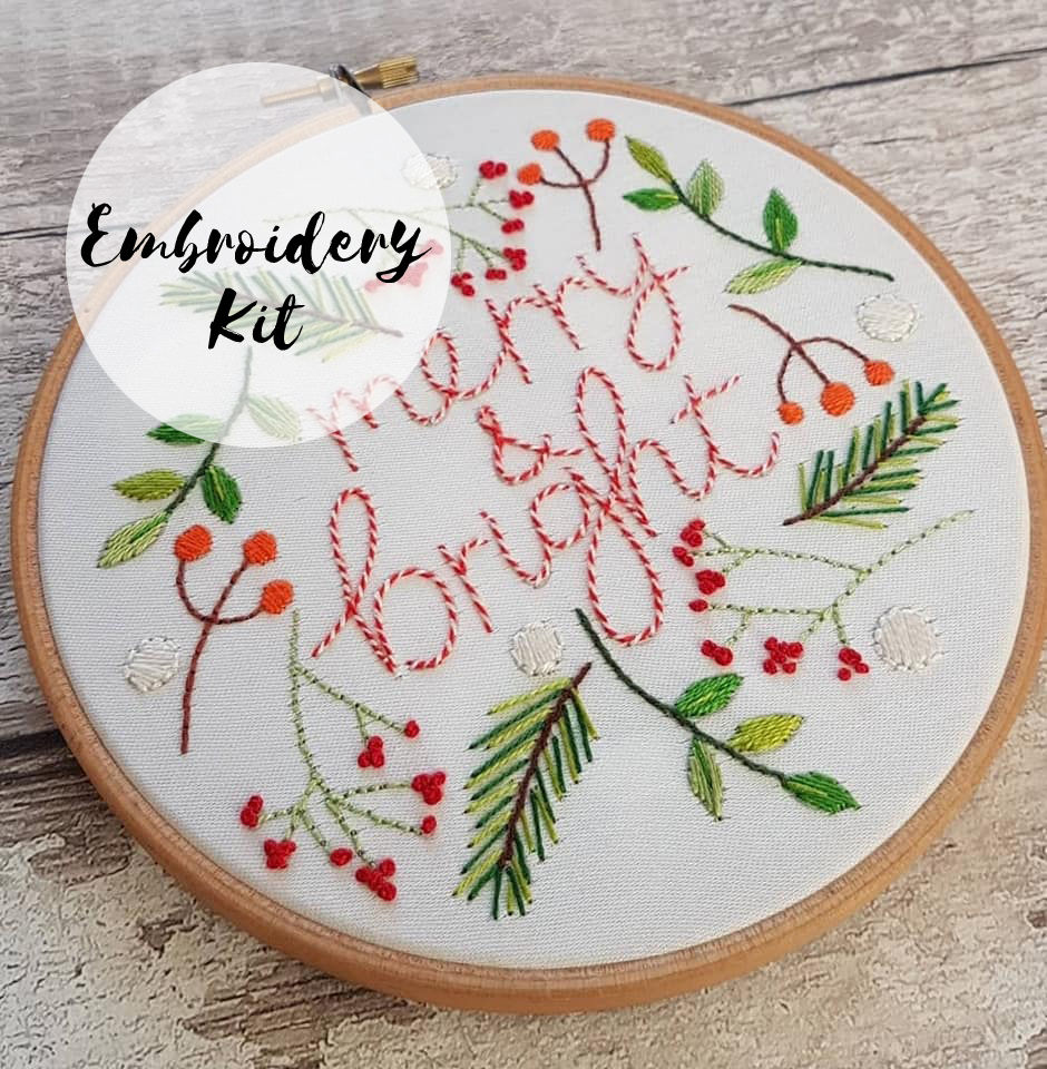 Christmas Embroidery Kit Merry & Bright - product image