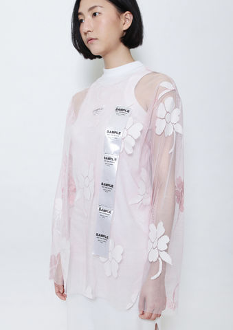 BABY,PINK,FLOWER,SHELL,TOP,8enny lin, ss16, online, buy, shop, webshop, designer, fashion, taiwan, cute, summer, sheer t-shirt, oversize, mesh top, cool, gift idea, love, girly, japanese style, minimal, monochrome, taiwan brand, label, handmade, tailor made