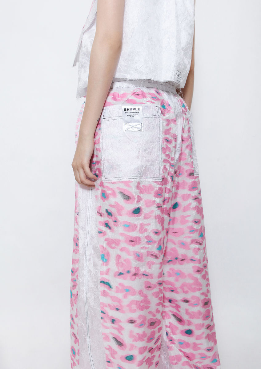PINK CAMOUFLAGE WIDE LEG PANTS - product image