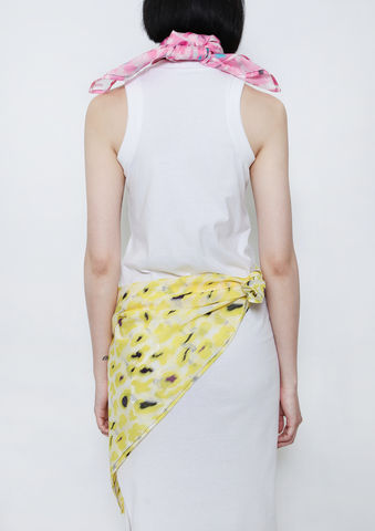 YELLOW,CAMOUFLAGE,SCARF,8enny lin, ss16, online, buy, shop, webshop, designer, fashion, taiwan, cute, summer, sheer t-shirt, oversize, mesh top, cool, gift idea, love, girly, japanese style, minimal, monochrome, taiwan brand, label, handmade, tailor made