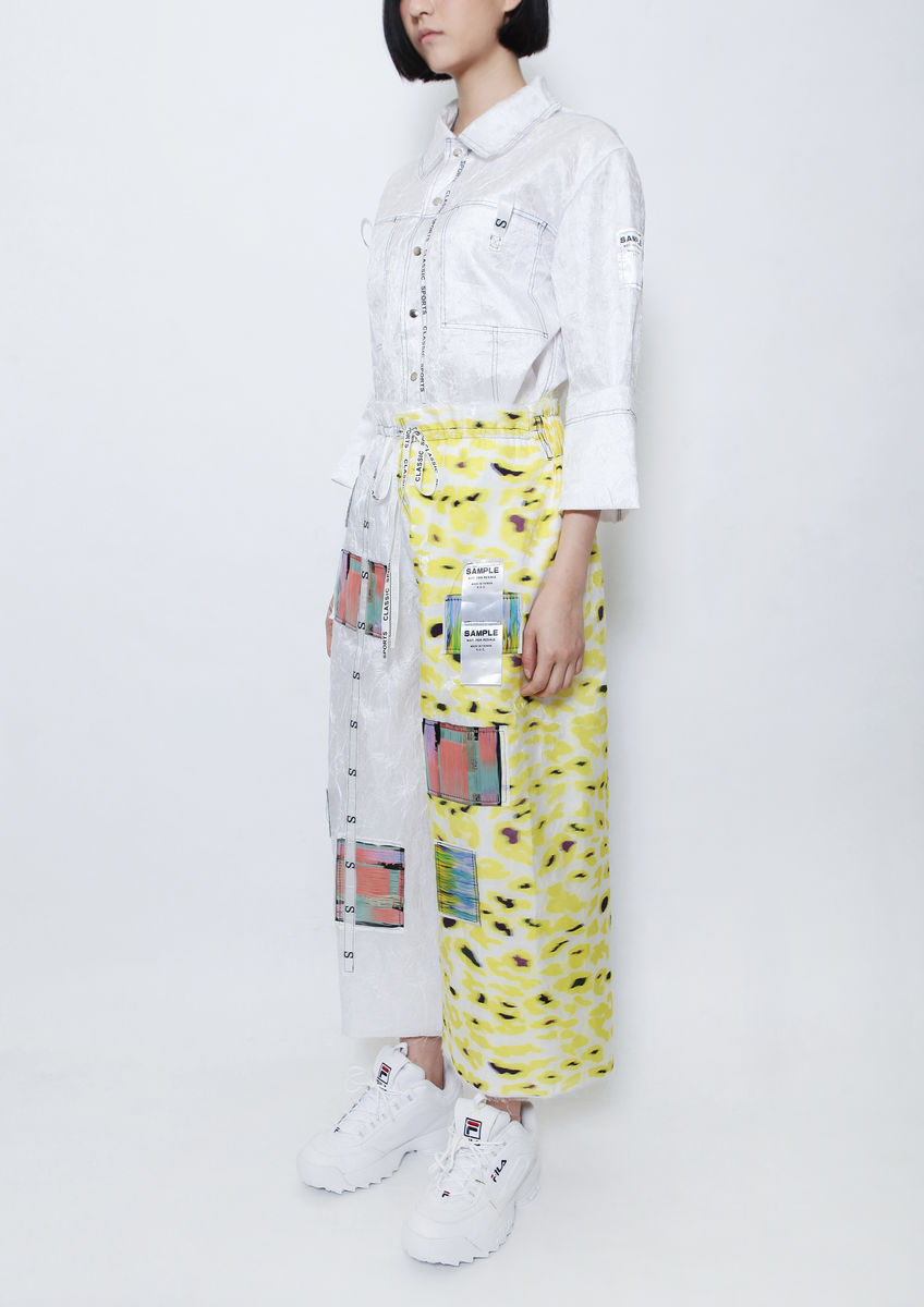 8ENNY LIN YELLOW CAMOUFLAGE COLOR TAGS CULOTTES - product images  of
