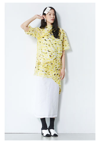 YELLOW,CAMOUFLAGE,TOP,8enny lin, ss16, online, buy, shop, webshop, designer, fashion, taiwan, cute, summer, sheer t-shirt, oversize, mesh top, cool, gift idea, love, girly, japanese style, minimal, monochrome, taiwan brand, label, handmade, tailor made