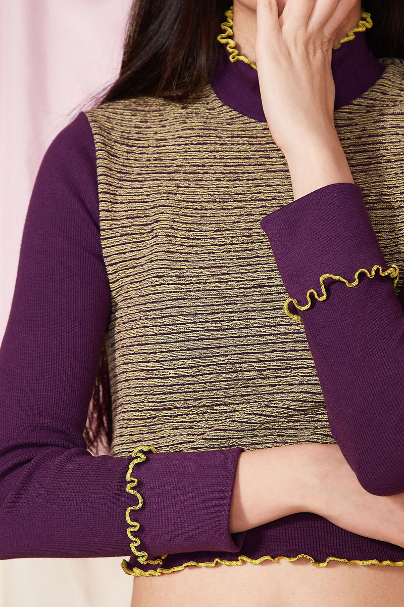 LONG SLEEVE RIB TOP - product images  of