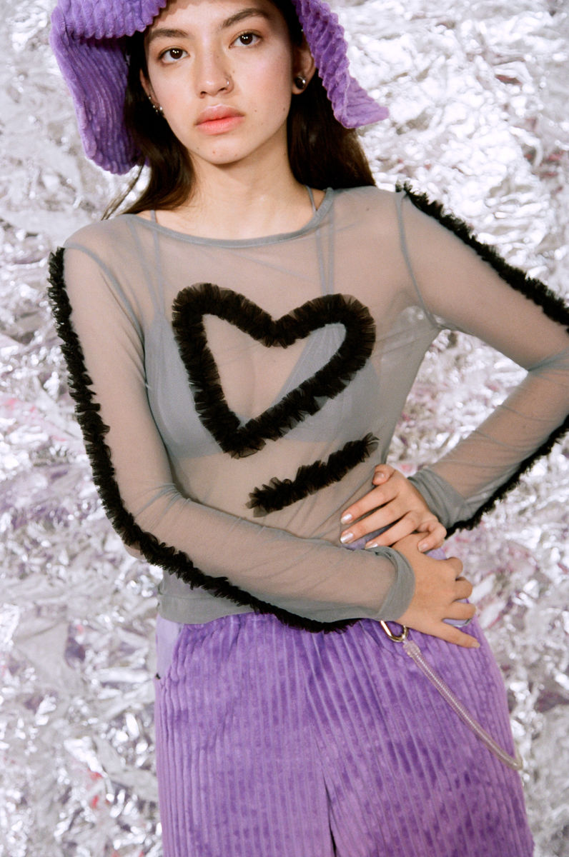 SHEER HEART FRILLS TOP - product image