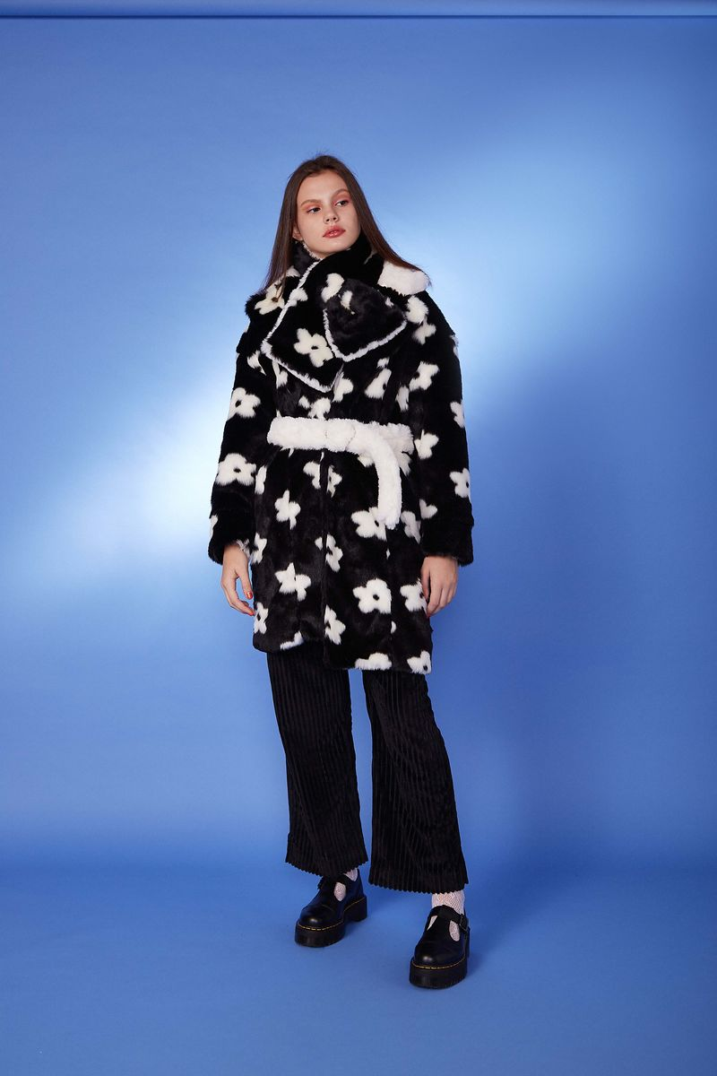 FLOWER FAUX FUR SCARF - product images  of