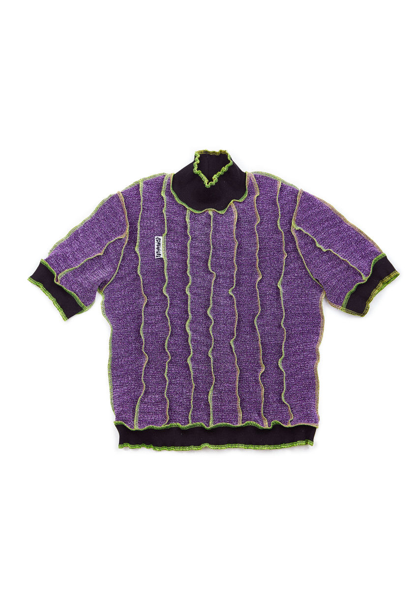 HIGH NECK T-SHIRT in PURPLE GLITTER with NEON SEAM - product image