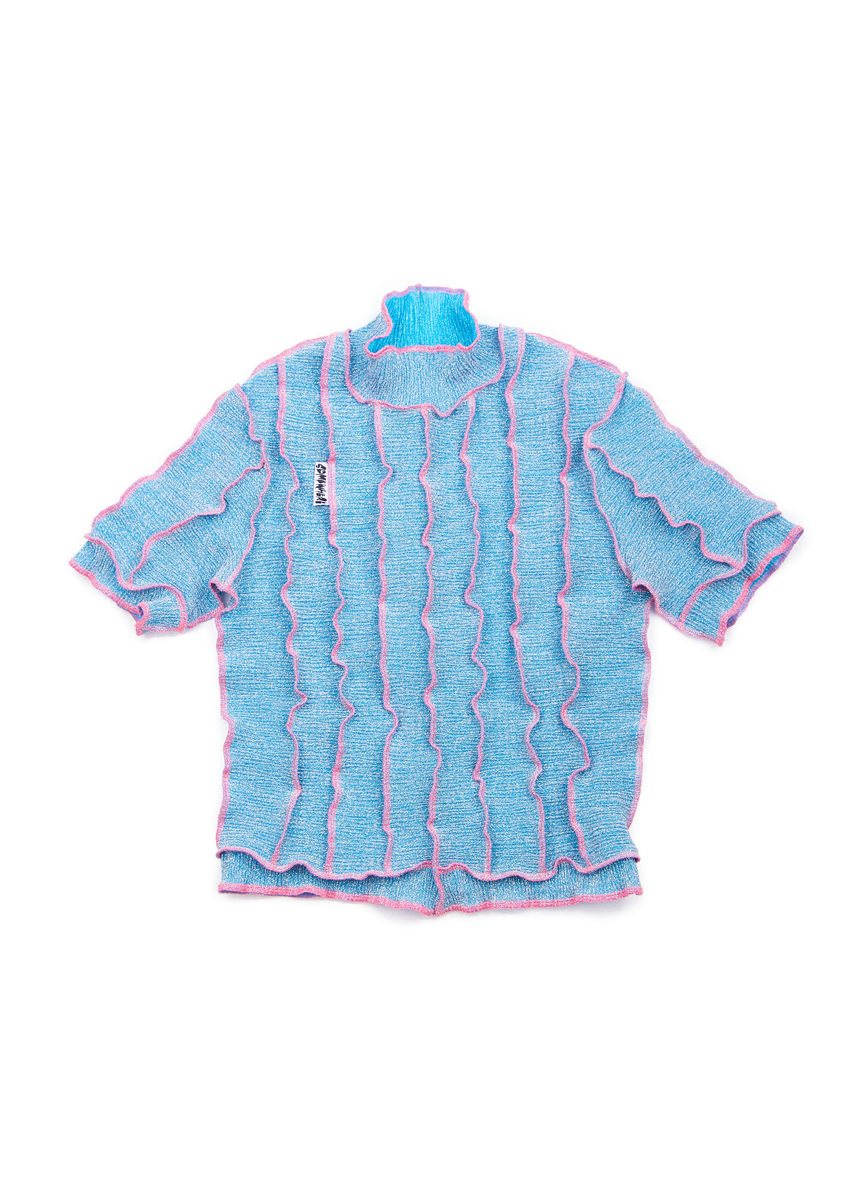 HIGH NECK T-SHIRT in BLUE GLITTER with NEON SEAM - product image