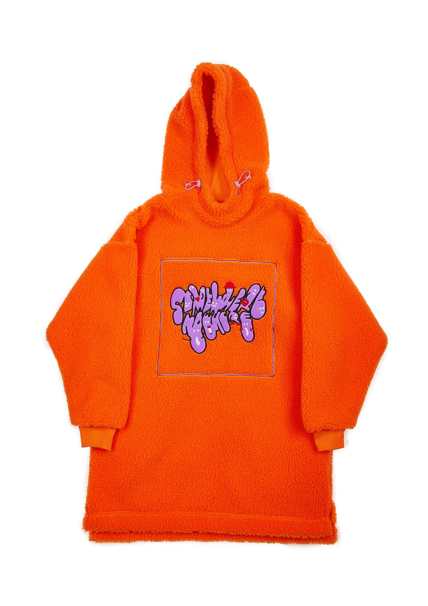 OVERSIZED SHERPA FLEECE HOODIE DRESS in ORANGE with LOGO EMBROIDERY - product image
