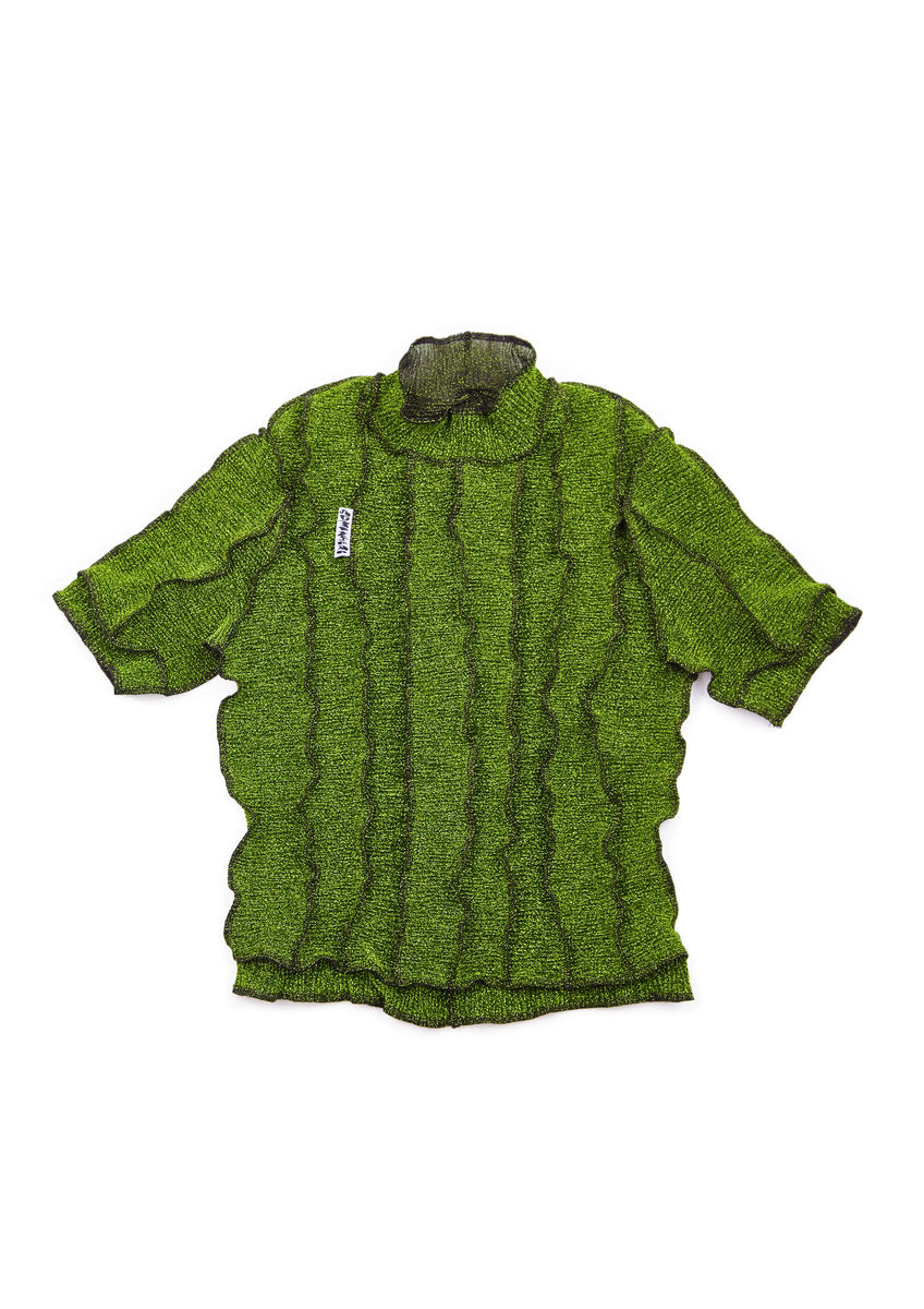 HIGH NECK T-SHIRT in GREEN GLITTER with SEAM DETAILS - product image