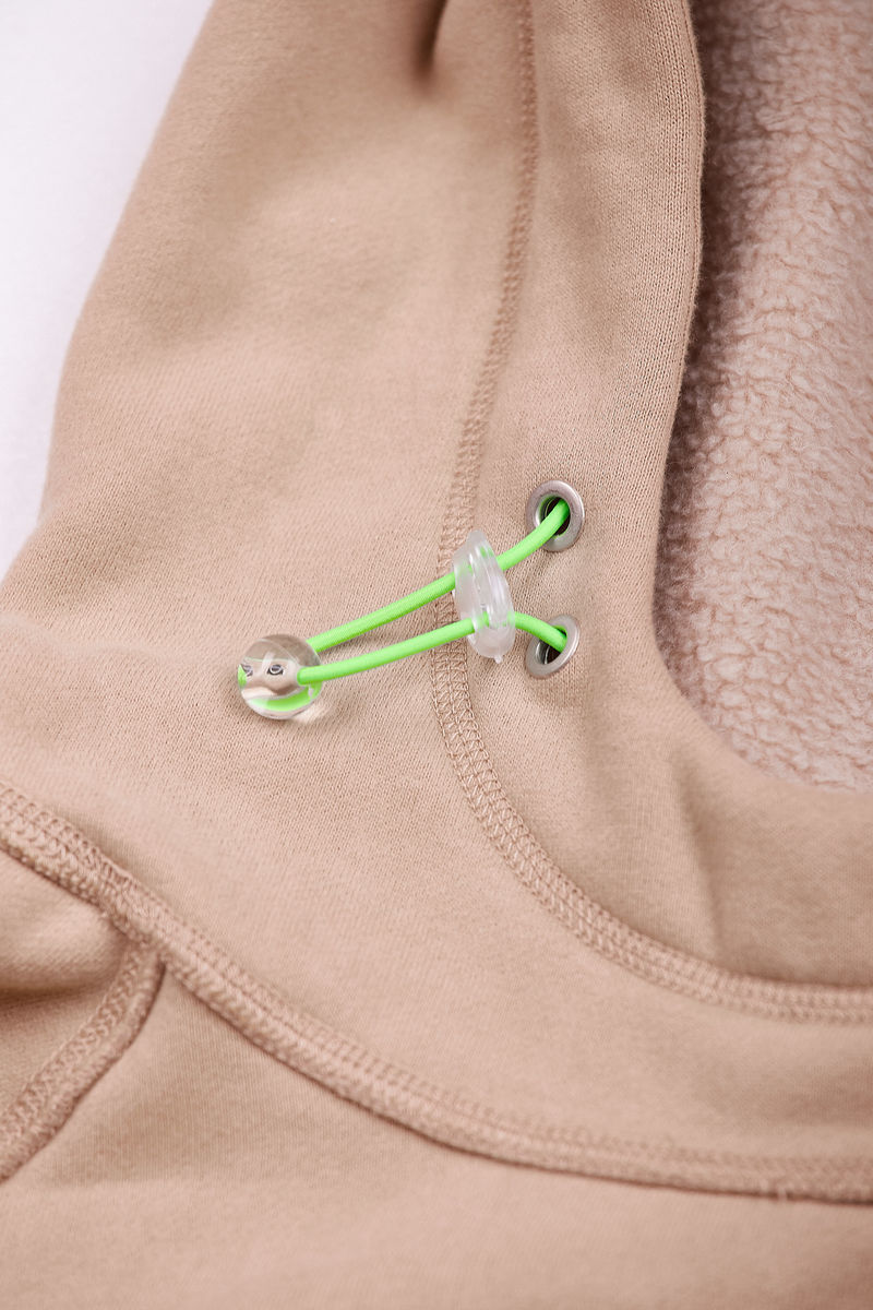 UNISEX HOODIE in KHAKI with LOGO EMBROIDERY - product images  of