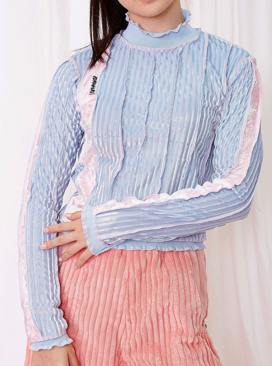 HIGH NECK TOP in BLUE STRIPE with SEAM DETAILS - product image