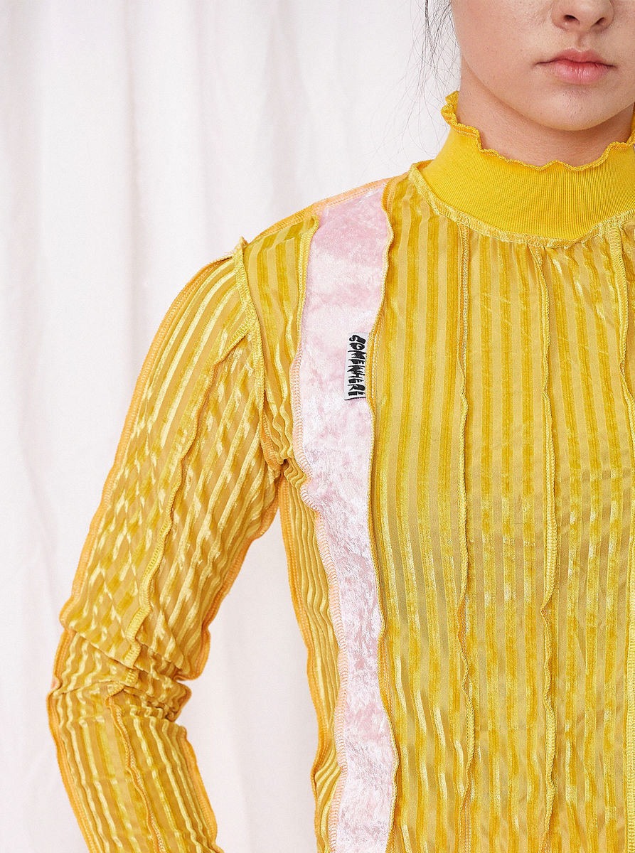 HIGH NECK TOP in YELLOW STRIPE with SEAM DETAILS - product image