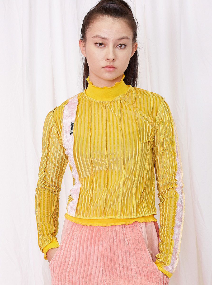 HIGH NECK TOP in YELLOW STRIPE with SEAM DETAILS - product images  of