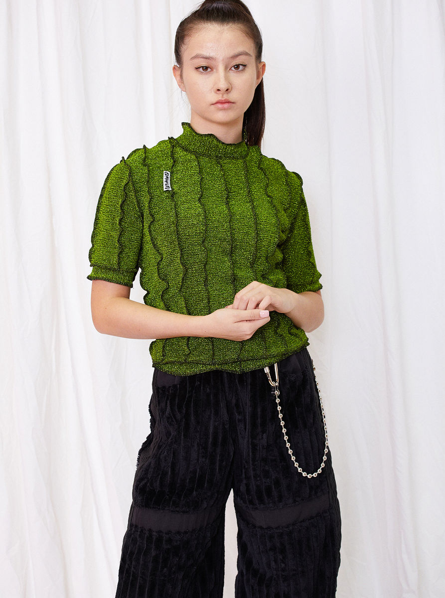 HIGH NECK T-SHIRT in GREEN GLITTER with SEAM DETAILS - product images  of