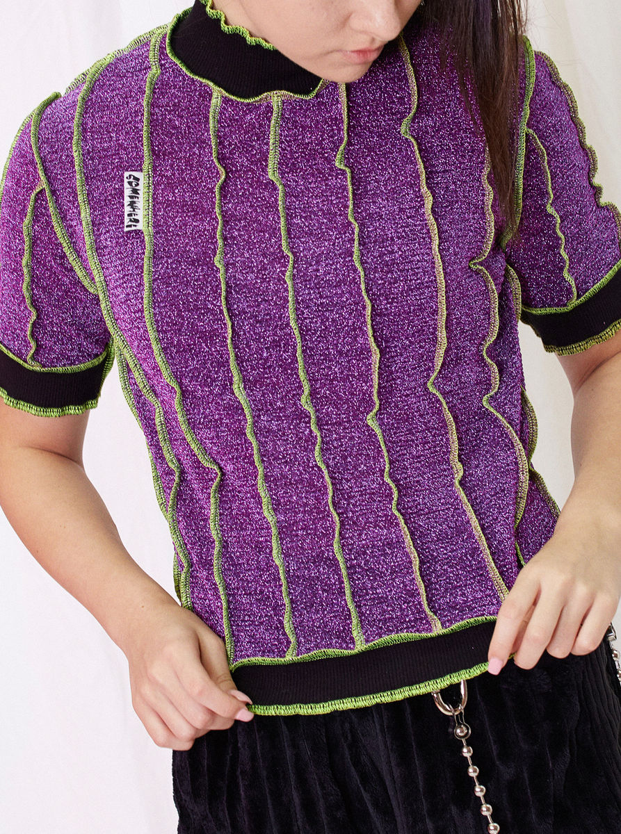 HIGH NECK T-SHIRT in PURPLE GLITTER with NEON SEAM - product images  of
