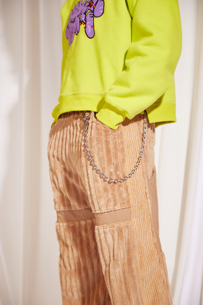 JUMBO CORDUROY WIDE LEG PANTS IN KHAKI - product images  of
