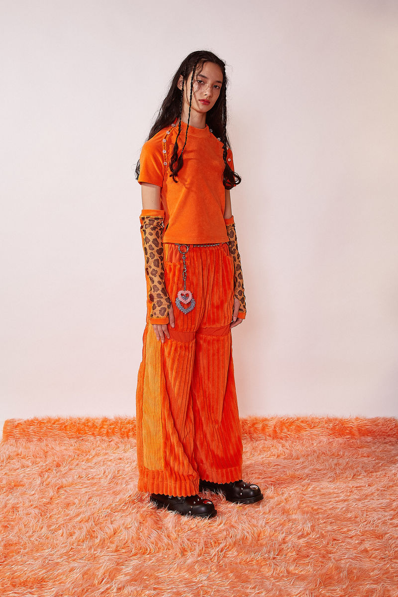 JUMBO CORDUROY WIDE LEG PANTS IN ORANGE - product image