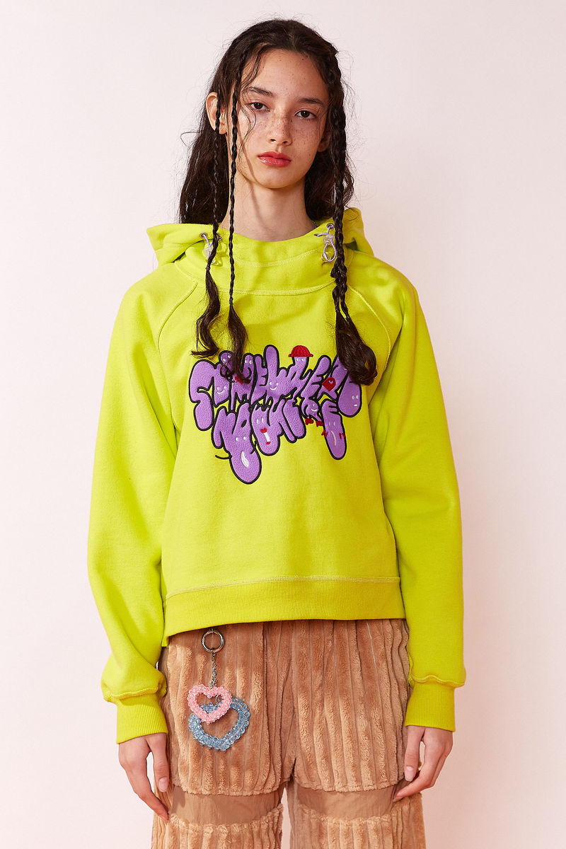 UNISEX HOODIE in ACID LIME with LOGO EMBROIDERY - product image