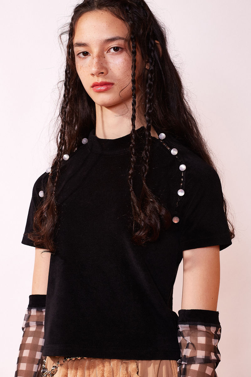 TERRY BUTTON TOP IN BLACK - product images  of