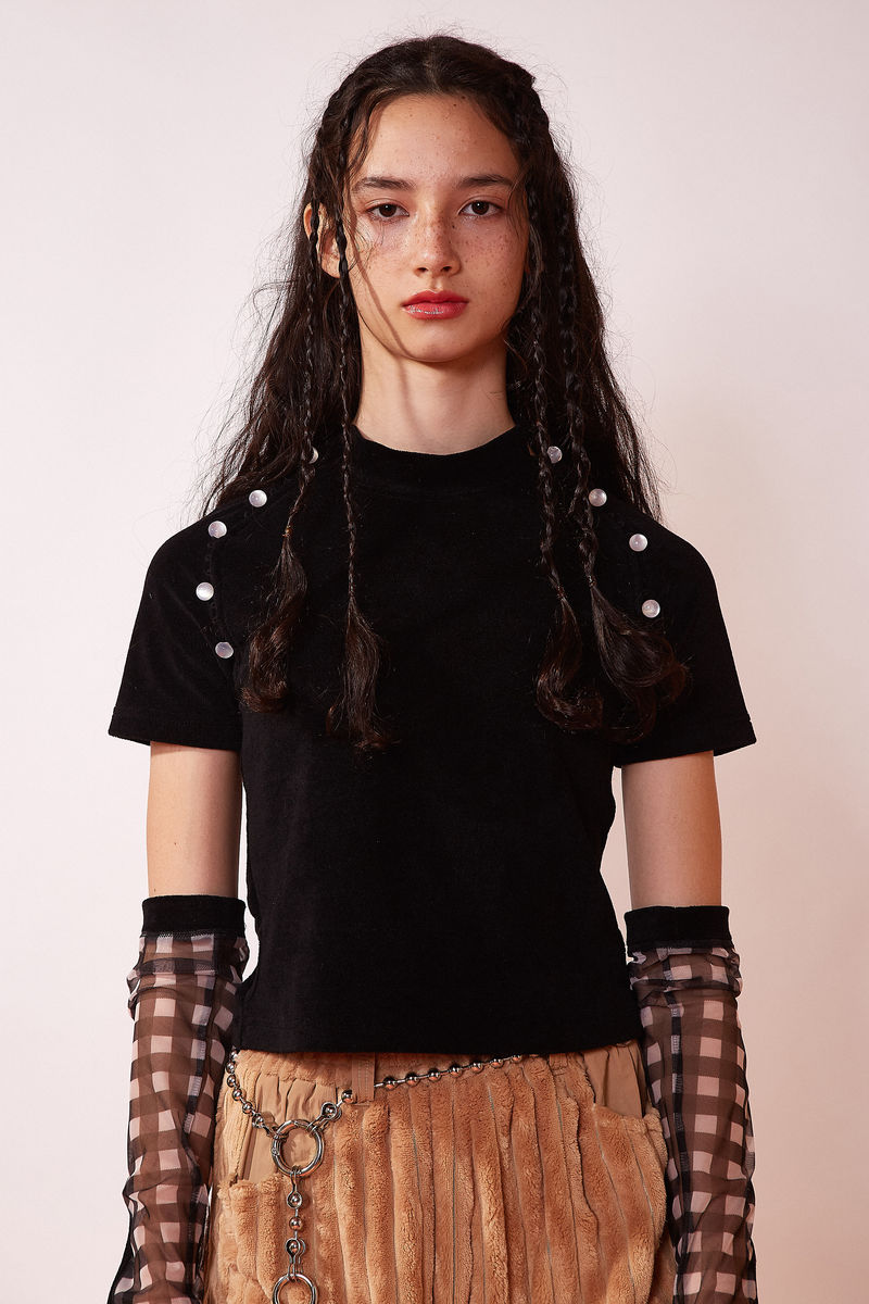 TERRY BUTTON TOP IN BLACK - product image