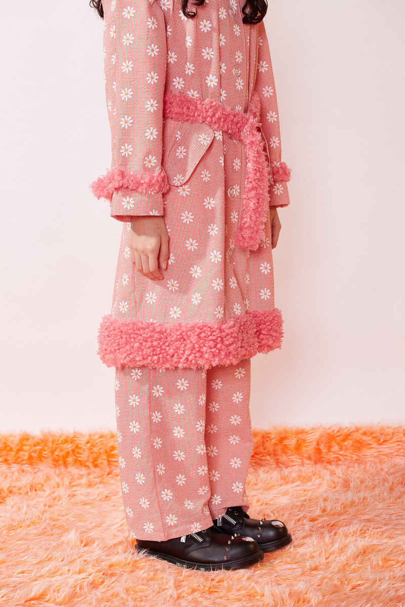 MAC COAT WITH FAUX FUR DETAILS IN DAISY PRINT  - product images  of
