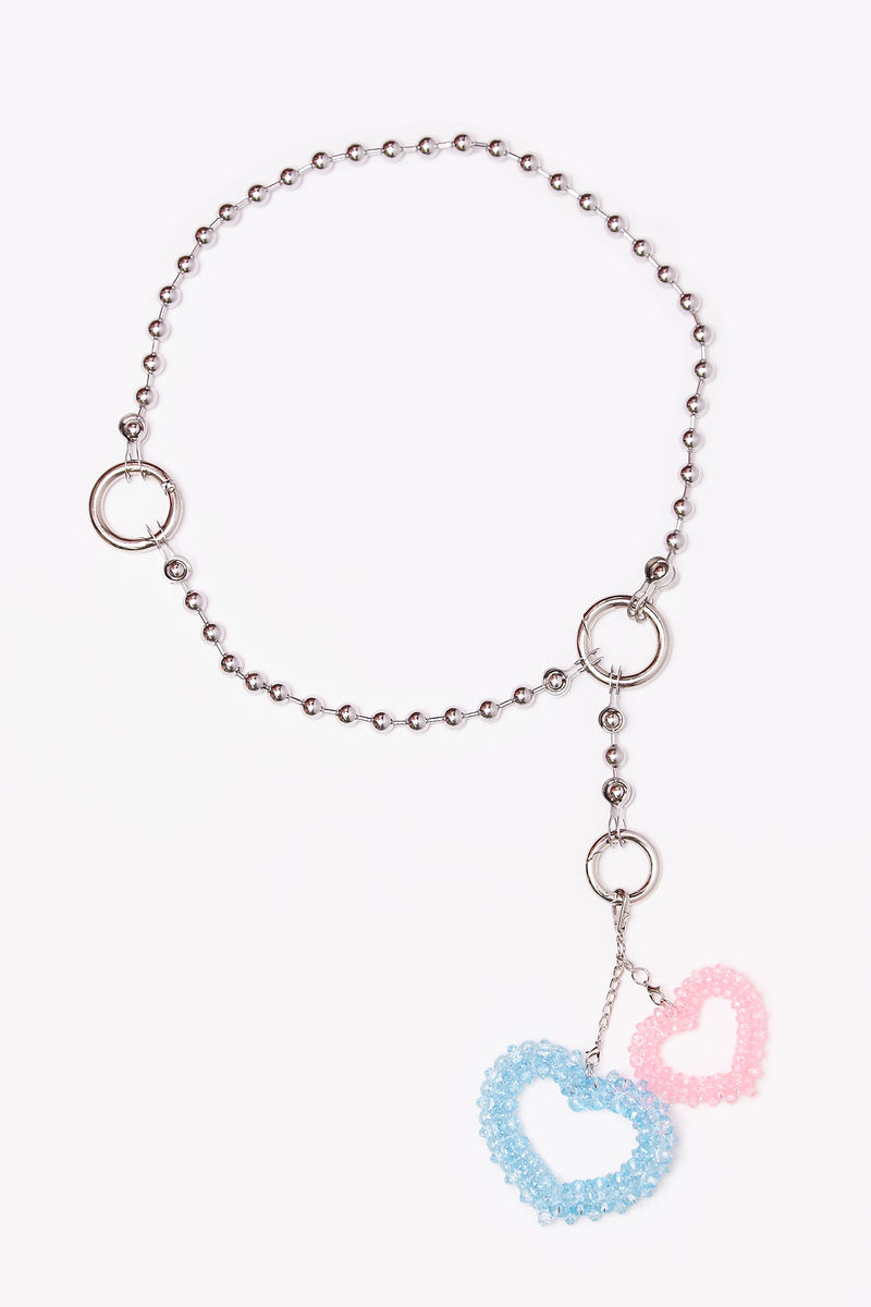 Heart Pendant Ball Chain Belt - product images  of