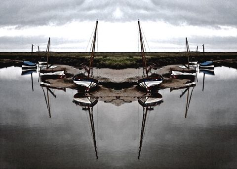 Symmetry,Boats,photo art, symmetry boats, boat print, nautical print, Norfolk coast Print