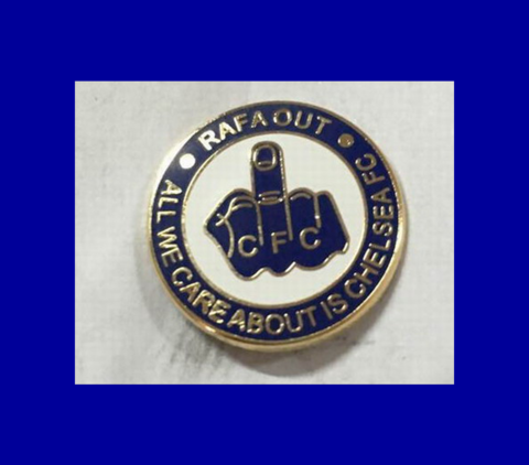 'RAFA,OUT',Pin,Badge,pin badge Rafa Out Benitez Chelsea FC CFC ktbffh souvenir collectable badges gift