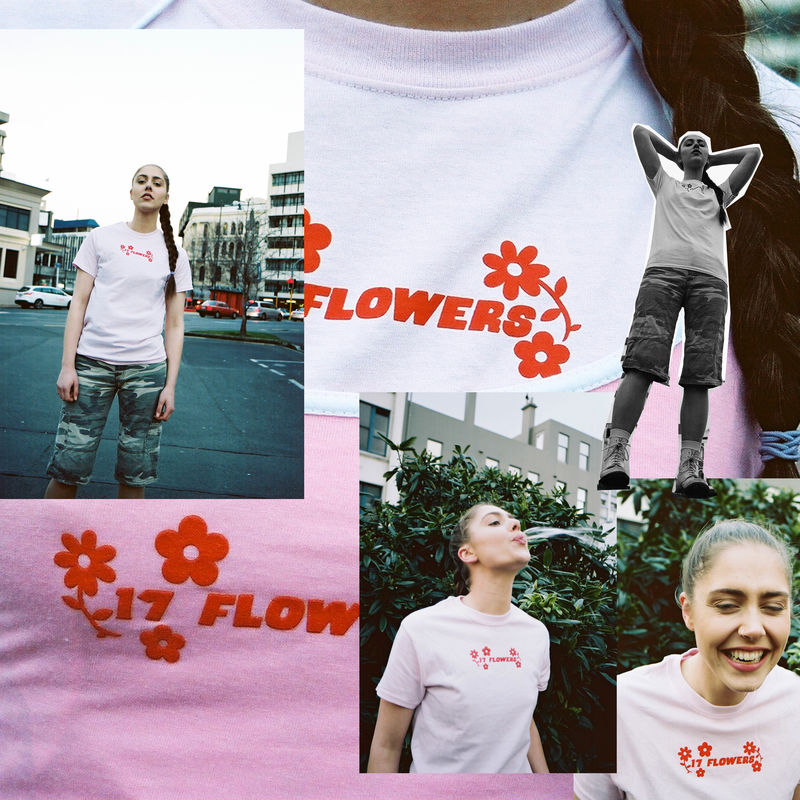 17 FLOWERS LIGHT PINK SCREENPRINTED T-SHIRT - product images