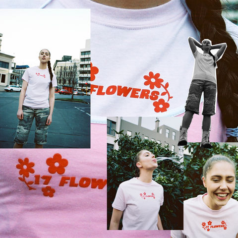 17,FLOWERS,LIGHT,PINK,SCREENPRINTED,T-SHIRT