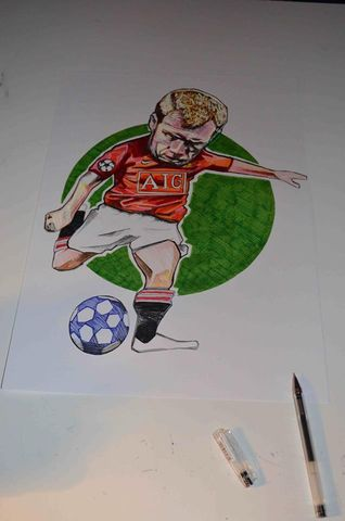 Paul,Scholes,Original,Artwork.,Paul Scholes, manchester united , football , midfielder , oasis, artwork, brown paper, madchester, music, aguycalledminty