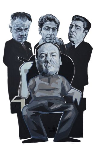 Sopranos...,print.....,sopranos , tony sopranos , james gandolfini , paulie walnuts , sol , chrissy soltansanti  , aguycalledminty, illustration,football , casual, vespa, legend, music , one love, I shot the sherif.