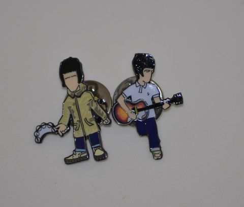 Liam,&,Noel,pin,badge,set....,oasis , noel gallagher , liam gallagher, aguycalledminty, pin badge , music, film ,artwork , beatles , stone roses