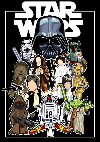 Star,Wars,Print........,Star Wars , Sci Fi ,  Film , Darth Vader , ob1 knob , luke skywalker , han solo , princess leia , storm trooper ,  , illustration , aguycalledminty , print , design