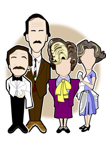 Fawlty,Towers,Print........,auf weidersehen pet , drama , Bomber , Dennis , neville , wayne , barry , oz , illustration , design , artwork , love