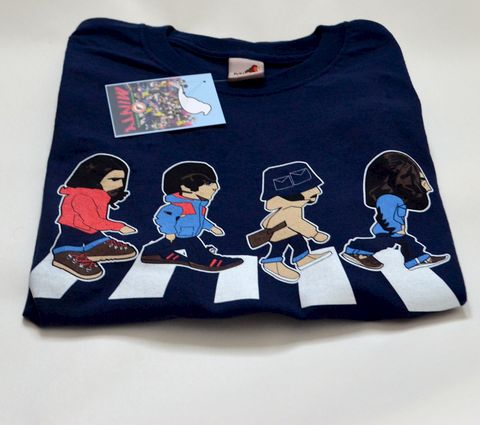 Abbey,Road,Casuals,Inspired,Tee,-,Navy.,Beatles , Paul Mccartney , george harrison, john lennon , Ringo starr , artwork , illustration  , screenprint , music , magical mystery tour , abbey road , the beatles , aguycalledminty
