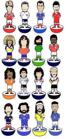 Players...........,Print..,subutteo , football , illustration , design , art , artwork , world cup , pirlo , laudrup , gazza , zidane , rush , souness , gullit , puyol
