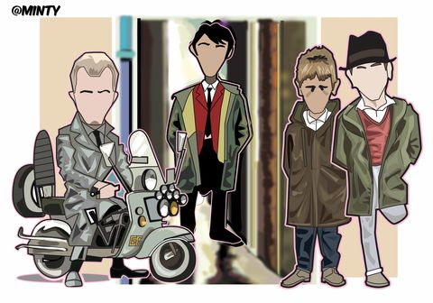 Quadrophenia,...........,Print..,Quadrophenia , music , the who , mod , rockers , Vespa , lambretta ,   fighting , , manchester , illustration ,design , print , aguycalledminty