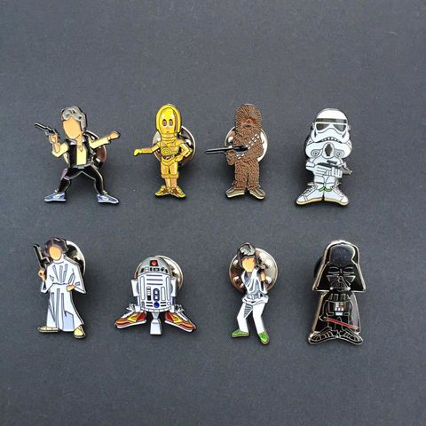 Star,Wars,Pin,SETS,star wars , film , the force awakens , pin badge luke skywalker , princess leia , han solo , chewbacca , CP30 , R2D2 , stormtrooper