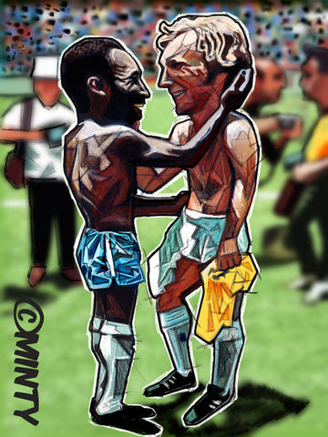 Pele,&,Moore,Print.,Pele , bobby moore , world cup 1970 , italia 90  , Euro 2016 , together stronger , don't take me home Gareth Bale , aaron ramsey , joe allen , joe medley, illustration , artwork , football , Wales , faw , vector , design