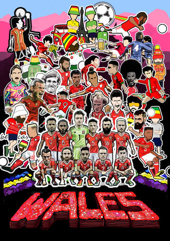 Wales,Sgt,Paper,Inspired,print........,Wales , Euro 2016 , together stronger , don't take me home Gareth Bale , aaron ramsey , joe allen , joe medley, illustration , artwork , football , Wales , faw , vector , design