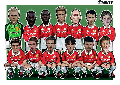 Manchester,UTD,1999,Print.,Pele , bobby moore , world cup 1970 , italia 90  , Euro 2016 , together stronger , don't take me home Gareth Bale , aaron ramsey , joe allen , joe medley, illustration , artwork , football , Wales , faw , vector , design