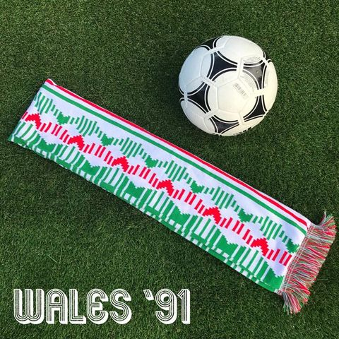 Wales,'91,scarf,(white),wales football , FAW , retro , retro kits , football kits , patterns , design , artwork